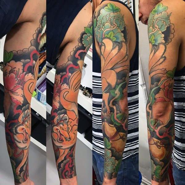 Full Arm Male Kitsune Fox Tattoos
