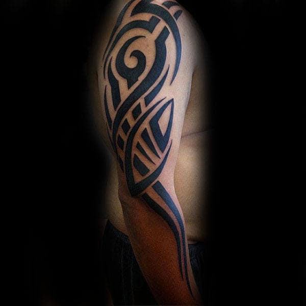 Full Arm Male Tribal Designs For Tattoos