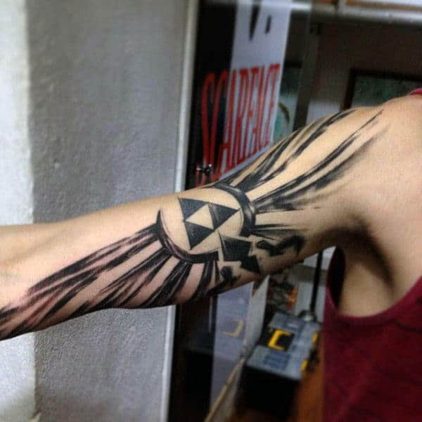 Full Arm Male Triforce Paint Brush Stroke Tattos