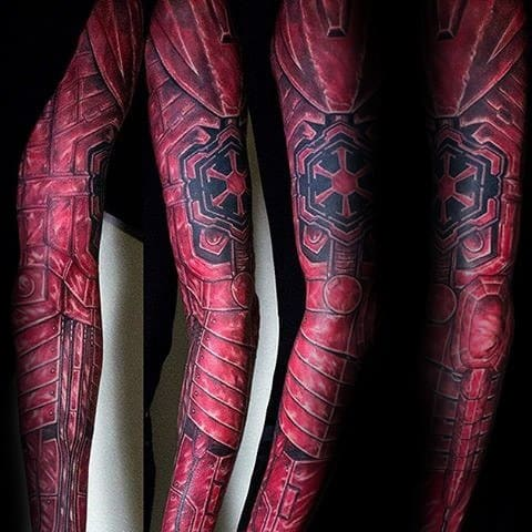Full Arm Red Ink Sleeve Manly Sith Symbol Tattoo Design Ideas For Men