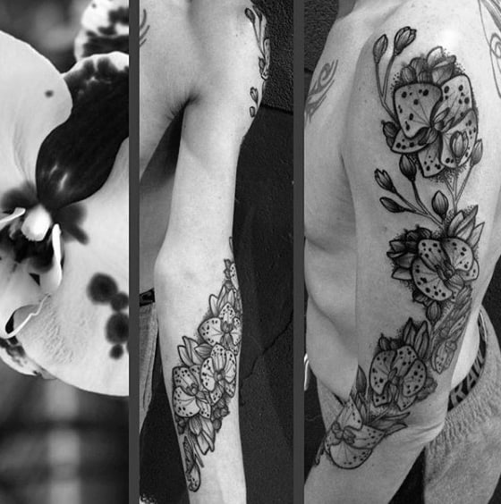 Full Arm Shaded Black And Grey Orchid Tattoo On Male