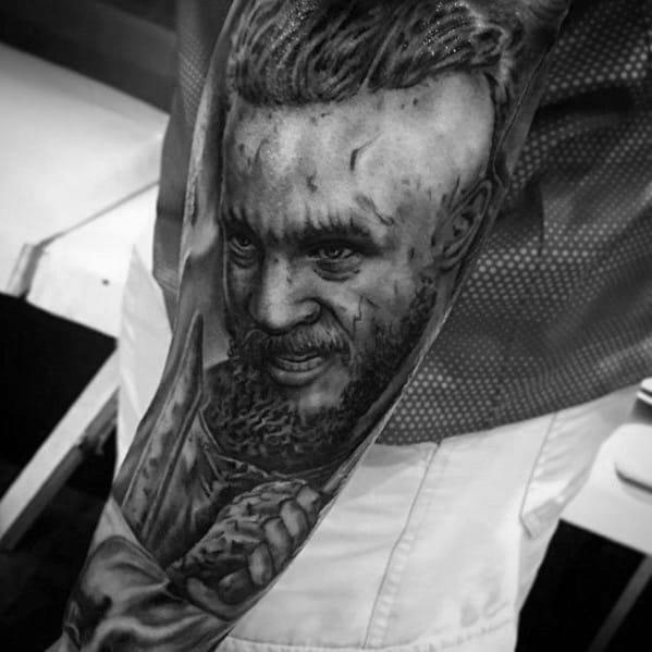 Full Arm Shaded Mens Manly Ragnar Tattoo Designs