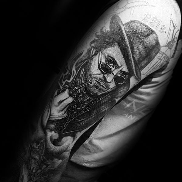 Full Arm Shaded Sherlock Holmes Mens Tattoo Ideas