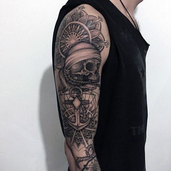 Full Arm Skulls With Geometric Anchor Guys Unique Tattoos