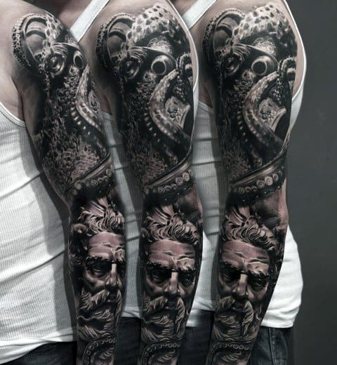 Full Arm Sleeve 3d Greek God Octopus Coolest Mens Tattoo Designs
