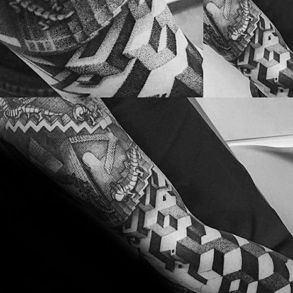 Full Arm Sleeve 3d Mc Escher Tattoo On Men