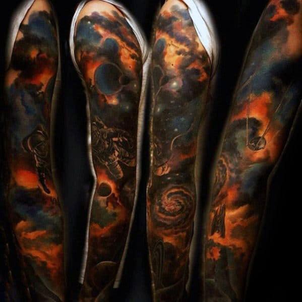 Full Arm Sleeve 3d Satellite Mens Tattoo Ideas
