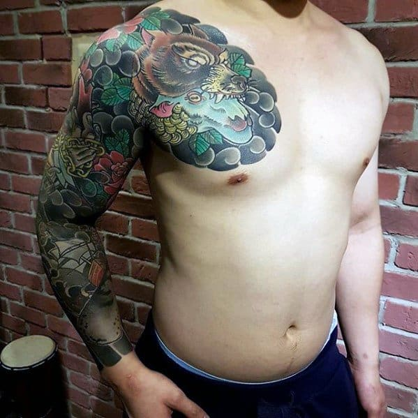 Full Arm Sleeve And Chest Sheep Tattoos For Males