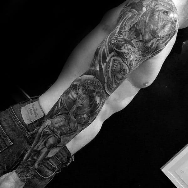 Full Arm Sleeve Atlas Guys Tattoo Designs