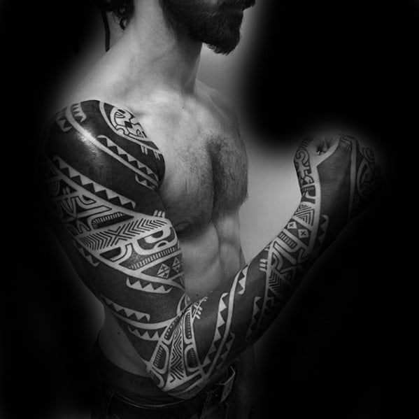 Full Arm Sleeve Awesome Badass Tribal Tattoos For Men