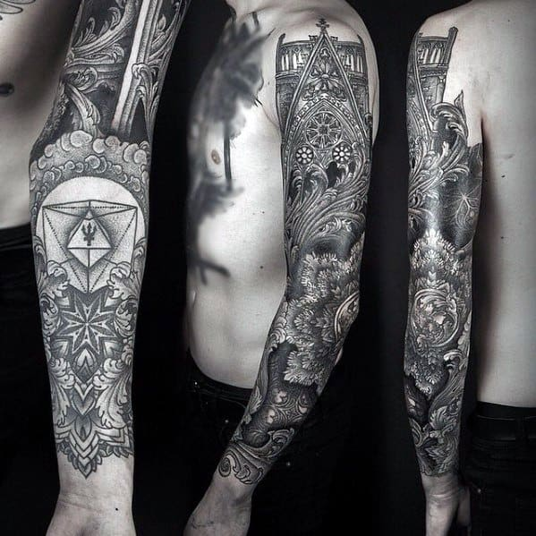 Full Arm Sleeve Awesome Cathedral Tattoos For Men
