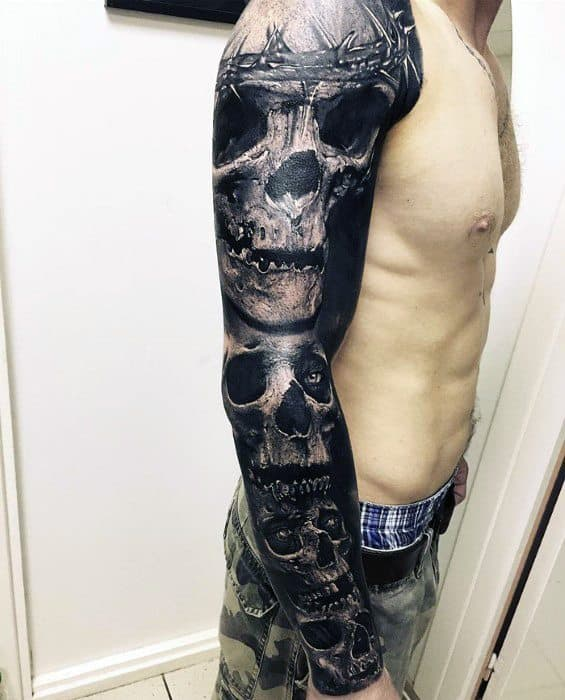 Full Arm Sleeve Badass Skull Guys Tattoos
