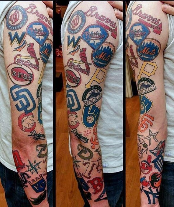 Full Arm Sleeve Baseball Logo Themed Guys Tattoo Ideas Boston Red Sox Designs