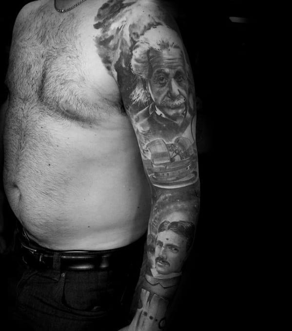 Full Arm Sleeve Black And Grey Ink Albert Einstein Guys Tattoo Ideas