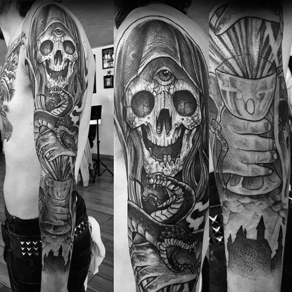 Full Arm Sleeve Black And Grey Ink Magician Male Tattoos