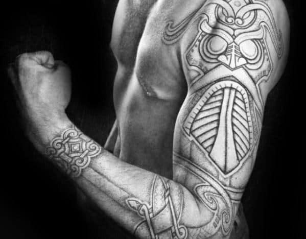 Full Arm Sleeve Celtic Mens Tribal Owl Tattoo