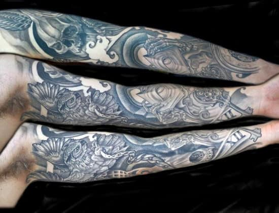 Full Arm Sleeve Crazy Owl Tattoo For Gentlemen