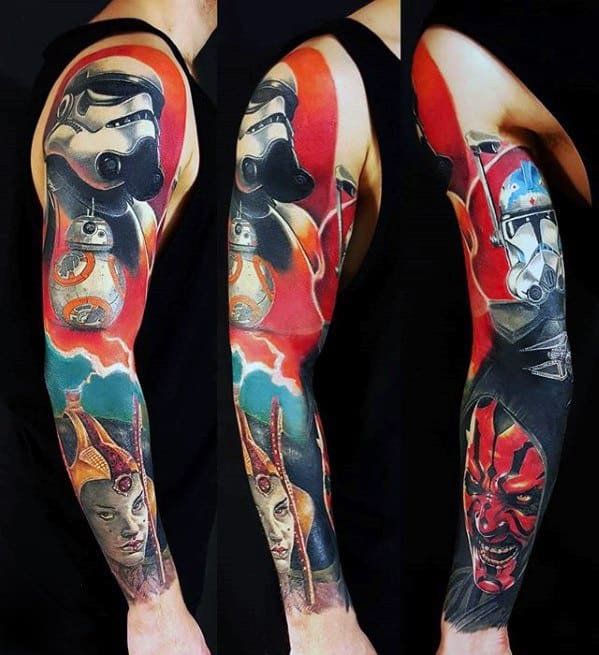 Full Arm Sleeve Darth Maul Tattoo Ideas For Gentlemen