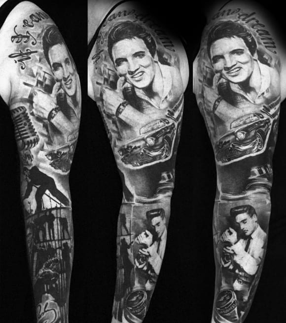 Full Arm Sleeve Elvis Presley Themed Tattoo Ideas On Guys
