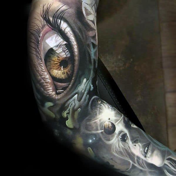 Full Arm Sleeve Eye Outer Space Planets Male Morph Tattoo Design Inspiration