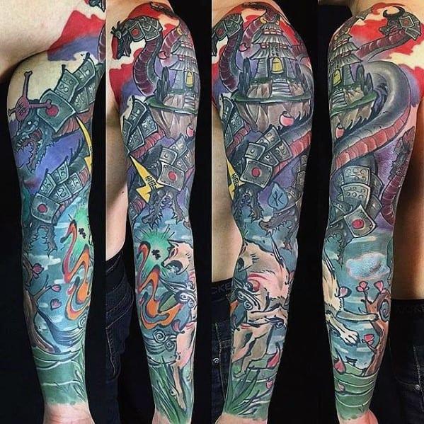 Full Arm Sleeve Gamer Tattoo Ideas On Guys