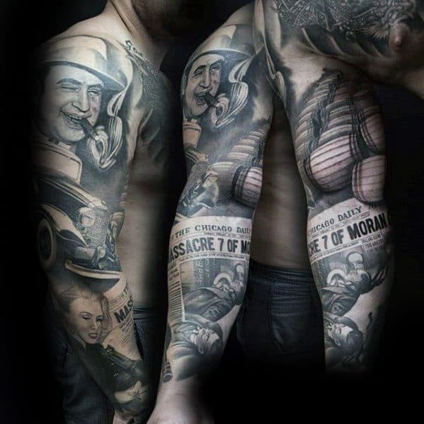 Full Arm Sleeve Gangster Themed Al Capone Tattoo Design Ideas For Males