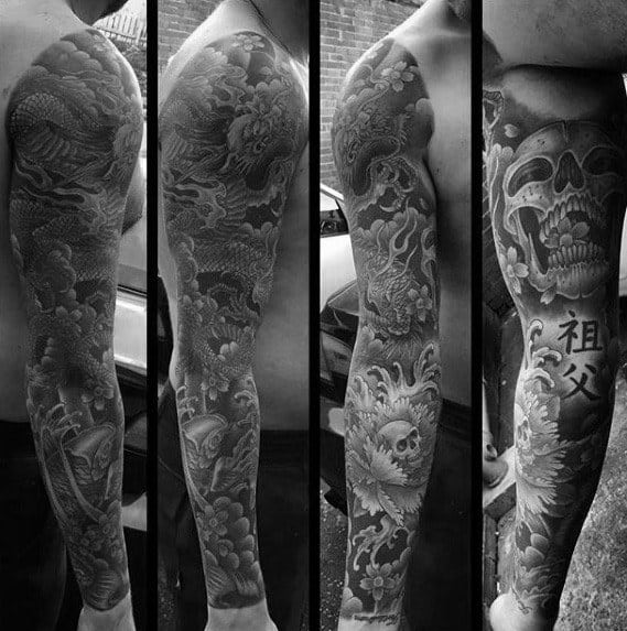 Full Arm Sleeve Guys Cool Unique Skull Tattoo Designs
