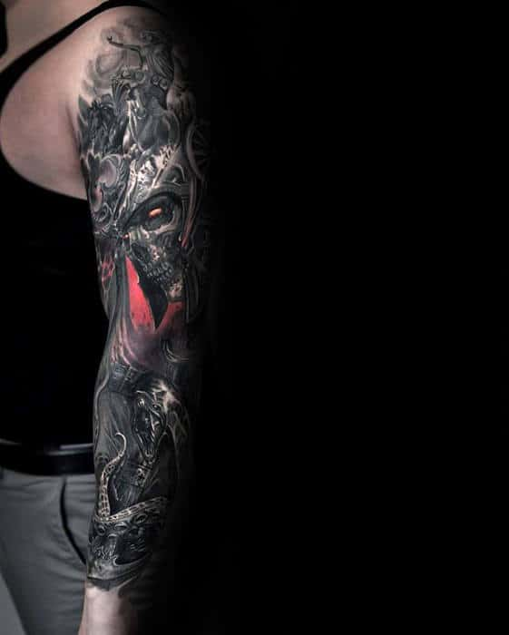 Full Arm Sleeve Guys Realistic Anchor Tattoo Designs