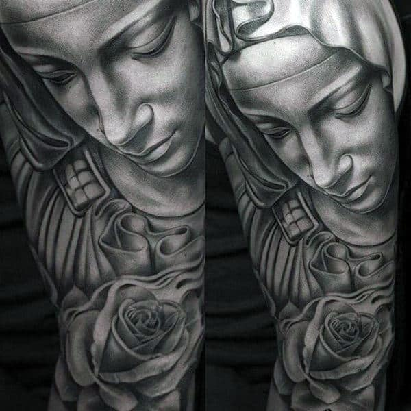 Full Arm Sleeve Guys Roman Catholic Virgin Mary Tattoo Ideas