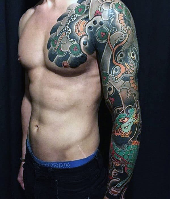 Full Arm Sleeve Guys Sweet Japanese Snake And Dragon Male Tattoo