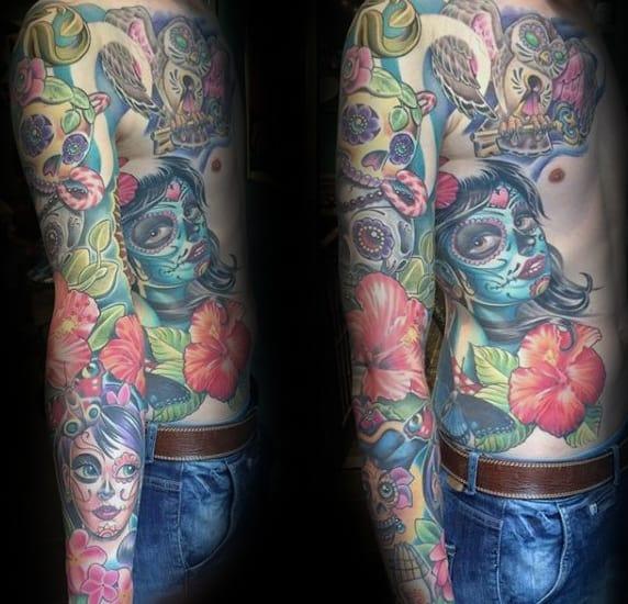 Full Arm Sleeve Hibiscus Flower Mens Tattoo Ideas