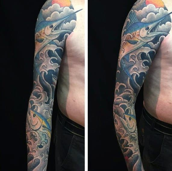 Full Arm Sleeve Japanese Marlin Tattoos For Gentlemen