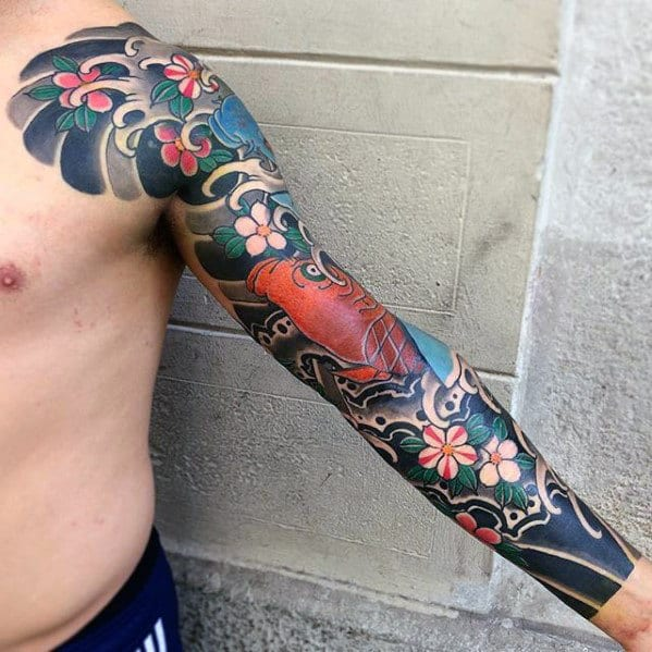 Full Arm Sleeve Japanese Mens Flower And Fish Tattoos