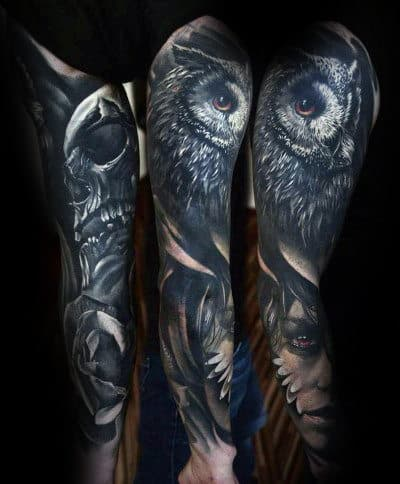 Full Arm Sleeve Manly Realistic Owl Tattoo Designs For Men