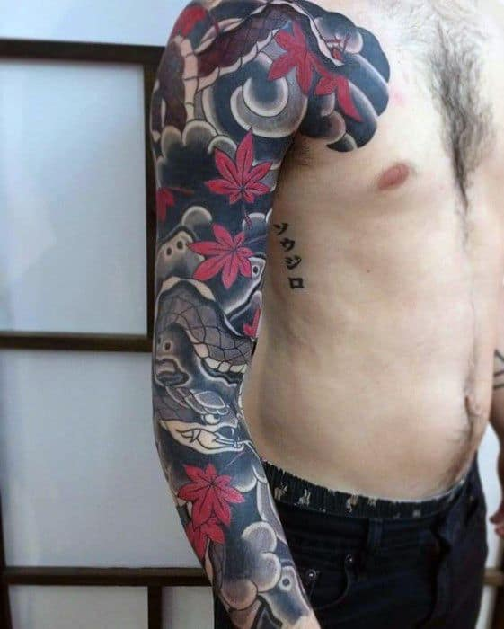 Full Arm Sleeve Maple Leaves With Japanese Snake Tattoos Male
