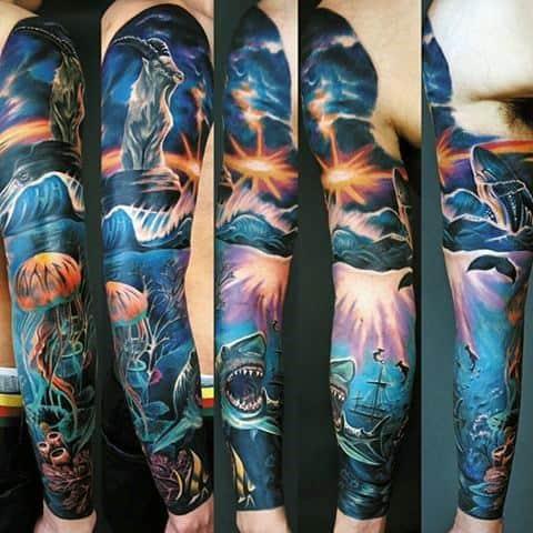 Full Arm Sleeve Masculine Shipwreck Tattoos For Men