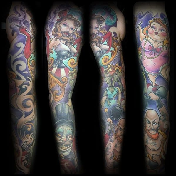 Full Arm Sleeve Mens Cool Circus Themed Tattoo Ideas