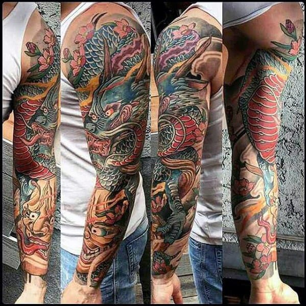 Full Arm Sleeve Mens Dragon Tattoo Designs