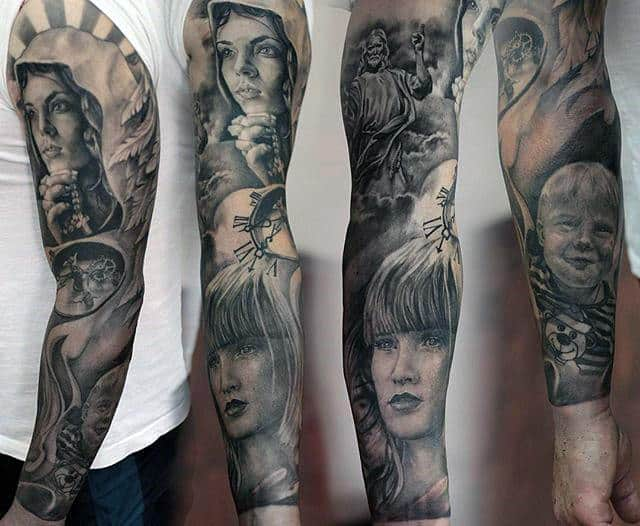 Full Arm Sleeve Mens Portrait Virgin Mary Tattoos