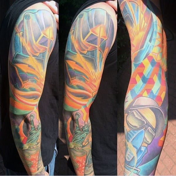 Full Arm Sleeve Mens Welding Tattoos