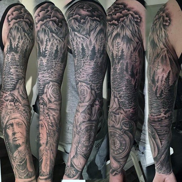 Full Arm Sleeve Nature Themed Awesome River Tattoos For Men