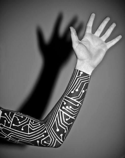 Full Arm Sleeve Negative Space Mens Computer Tattoo Design Inspiration