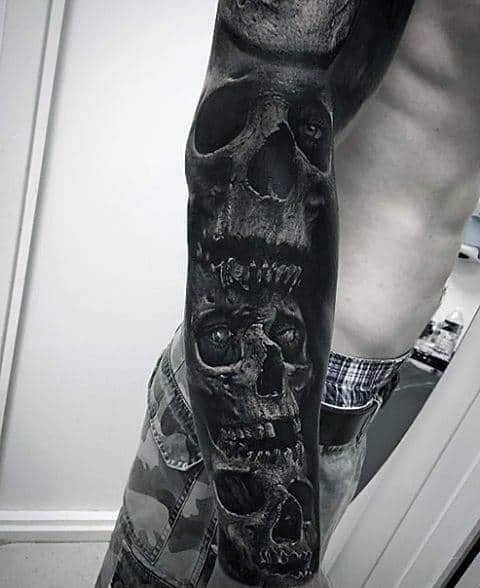 Full Arm Sleeve Of Skulls Mens Realistic Tattoo Designs