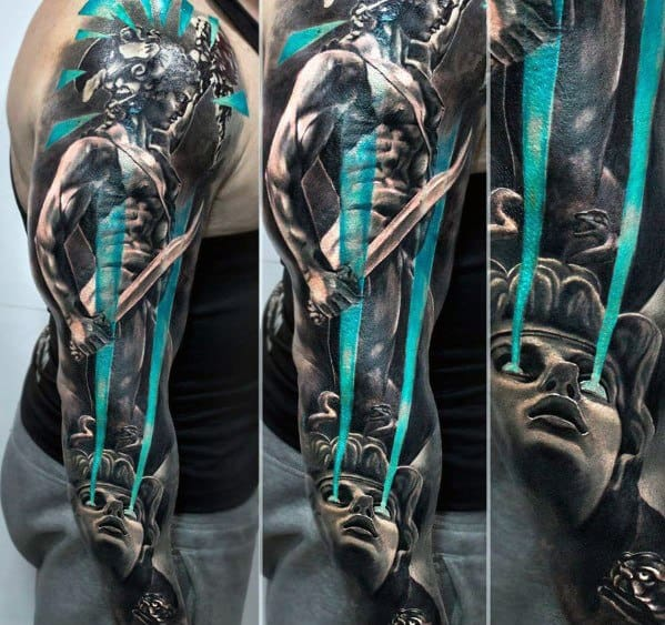 Full Arm Sleeve Perseus Guys Tattoos