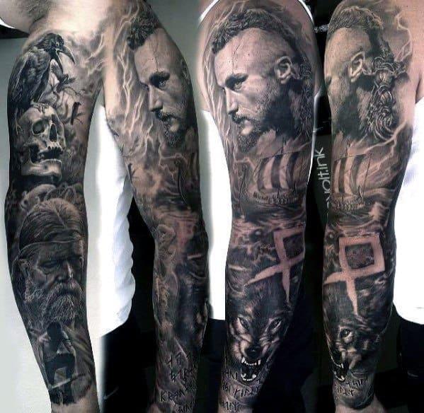Full Arm Sleeve Ragnar Tattoo Ideas For Gentlemen
