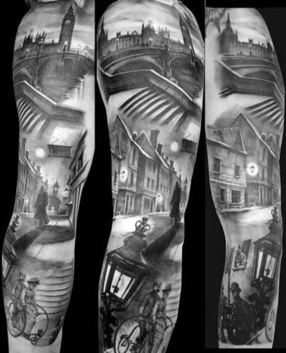 Full Arm Sleeve Realistic 3d Cool Sherlock Holmes Tattoo Design Ideas For Male