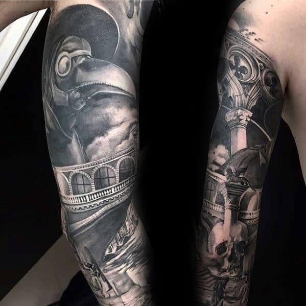 Full Arm Sleeve Realistic Sweet Male 3d Tattoo Design Inspiraton
