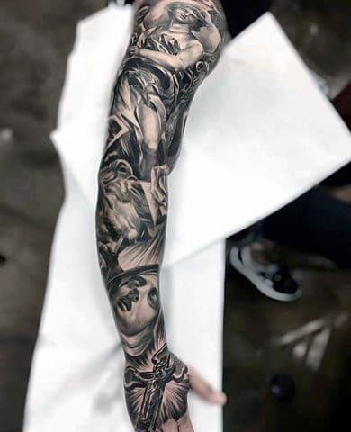 Full Arm Sleeve Religious Mens 3d Cross Tattoo Designs