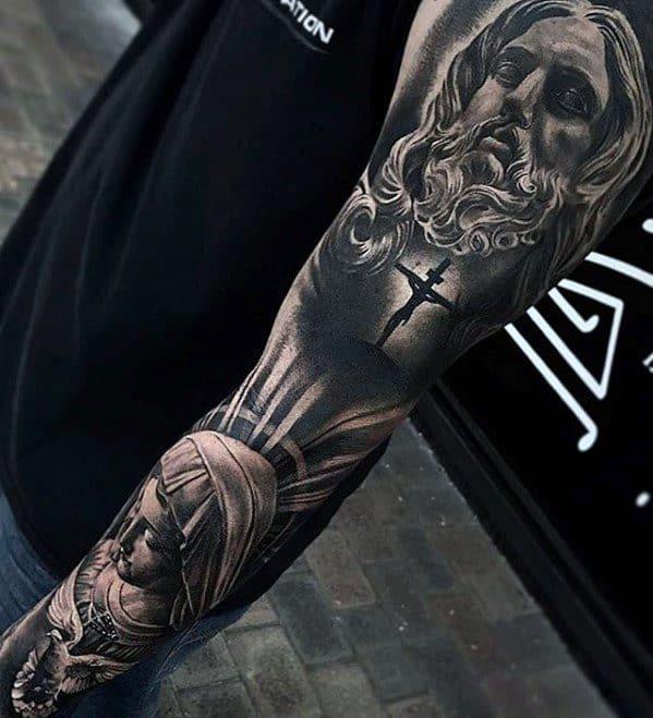Full Arm Sleeve Religious Themed Guys 3d Jesus Tattoo Designs
