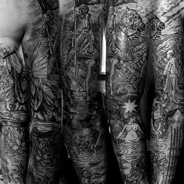 Full Arm Sleeve Tarot Tattoos Men
